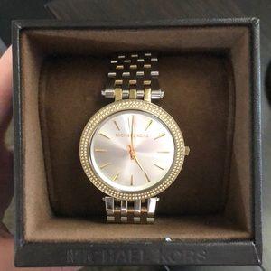 Michael Kors darci two toned pavé watch